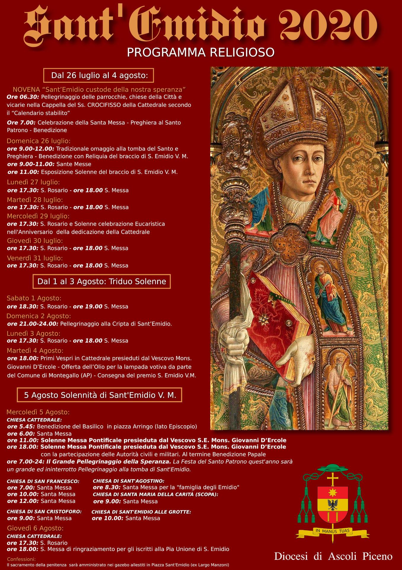 Sant'Emidio 2020 programma religioso