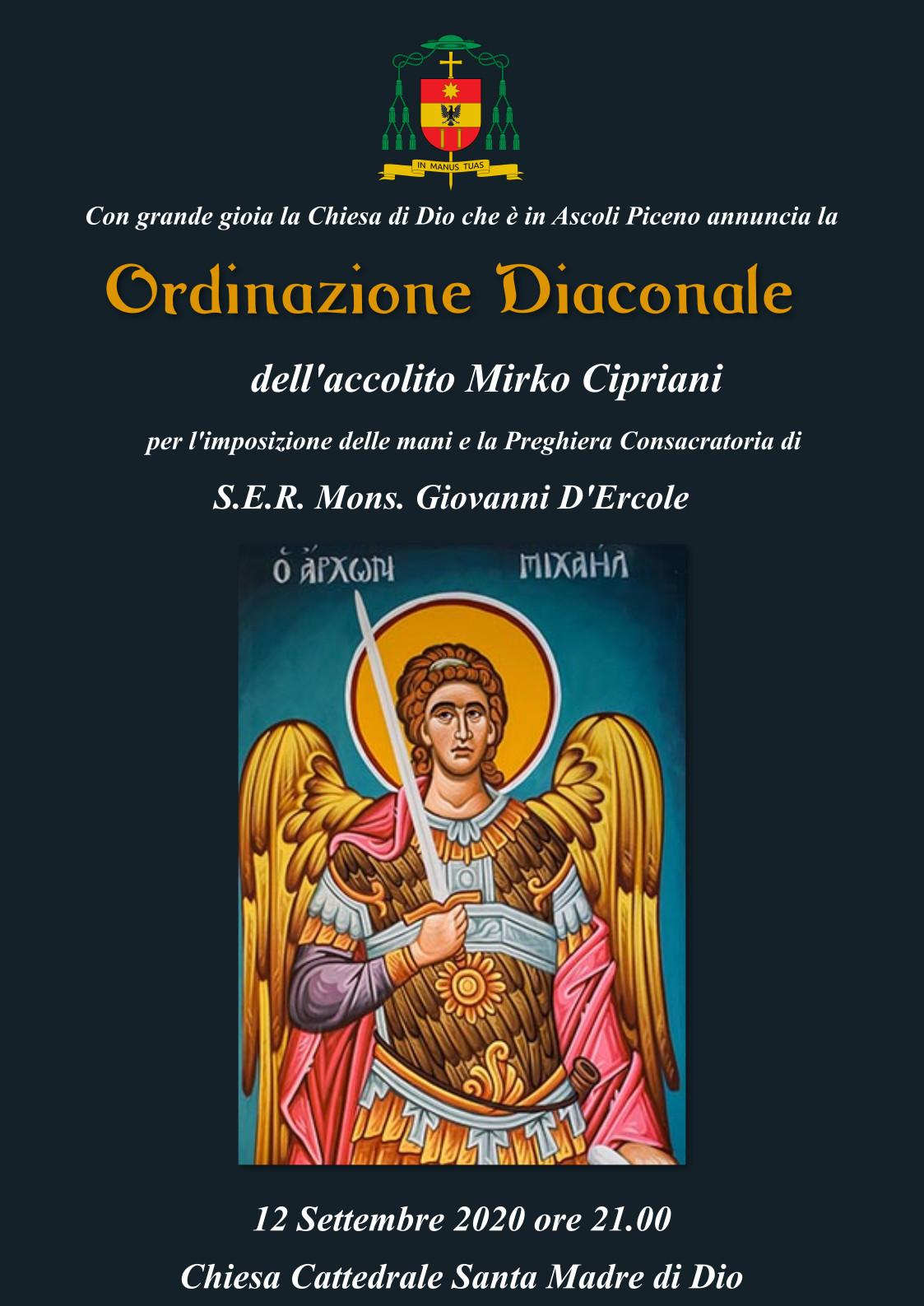 Locandina Ordinazione Diaconale Mirko Cipriani