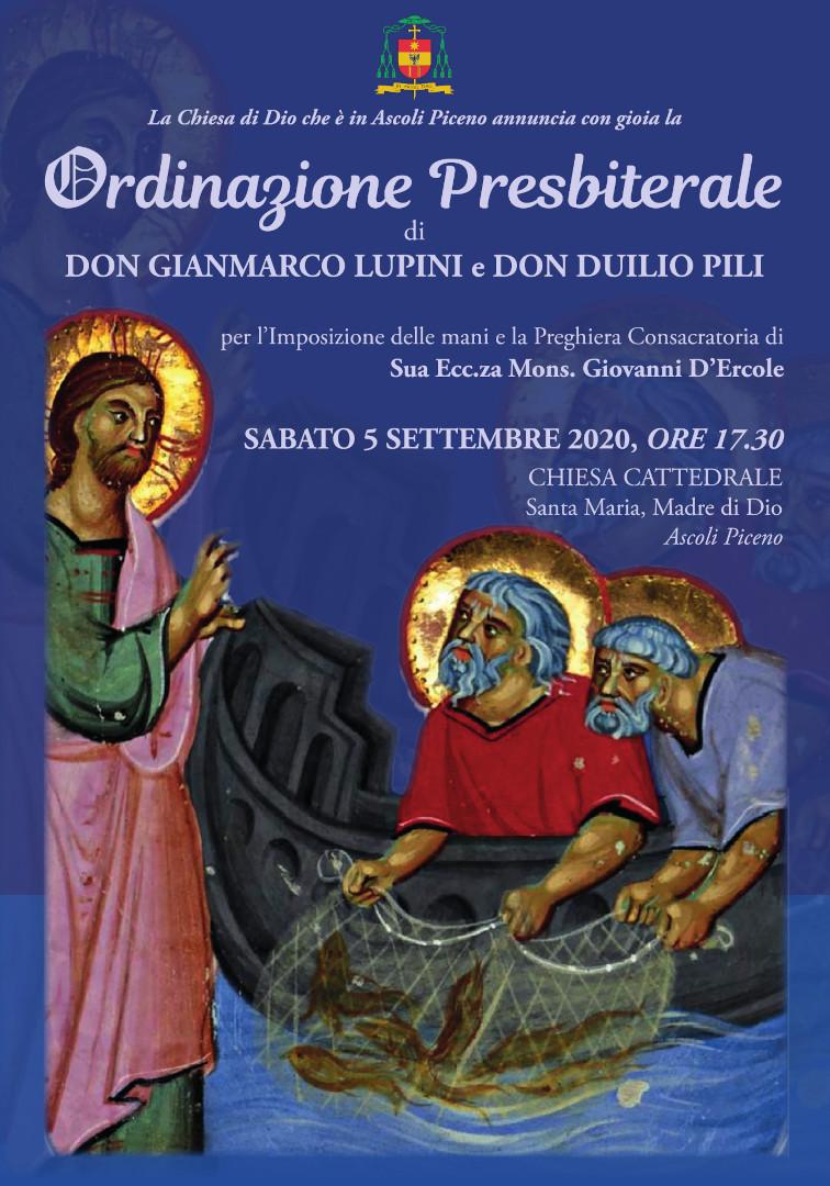 Locandina Ordinazione Sacerdotale Gianmarco Lupini Duilio Pili