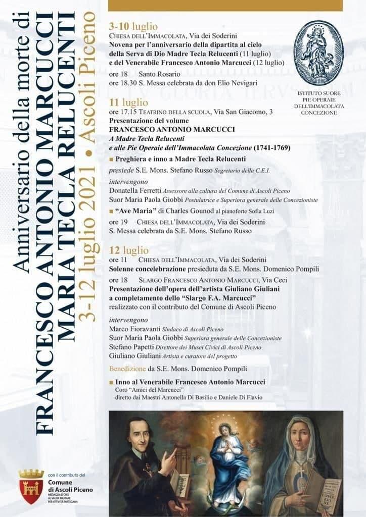 Anniversario Antonio Marcucci Tecla Relucenti 2021 - locandina