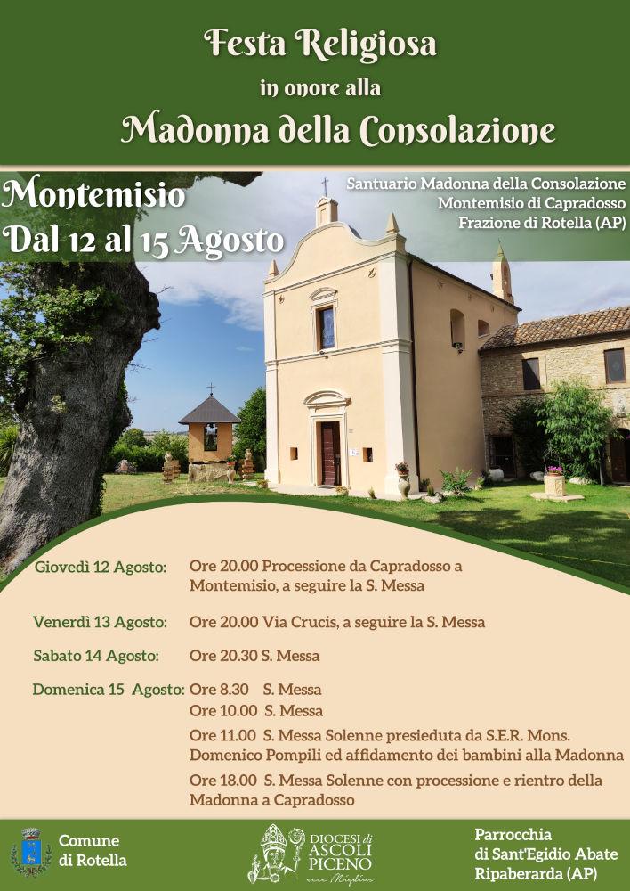 Montemisio: Festa Religiosa in onore alla Madonna della Consolazione